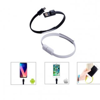 Personalized 2-In-1 Charging Cable (Bracelet) (K N E C T - Bracelet 2.0) / White
