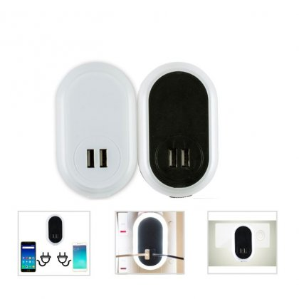 Personalized 2-In-1 Night Light With 2 Usb Charger (V O L T - Lumi) / Black, White