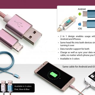Personalized 2 side cable for android and iphone