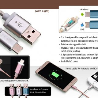 Personalized 2 side cable for android and iphone with light