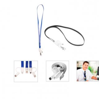 Personalized 3-In-1 Charging Cable (Lanyard) (K N E C T - Lan-C) / Black, White, Blue