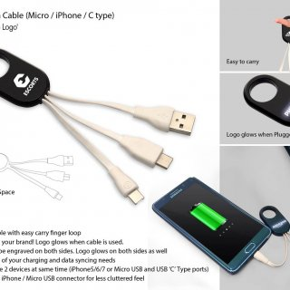 Personalized 3 In 1 Data Cable With Light Up Logo (Micro / iPhone / C Type)