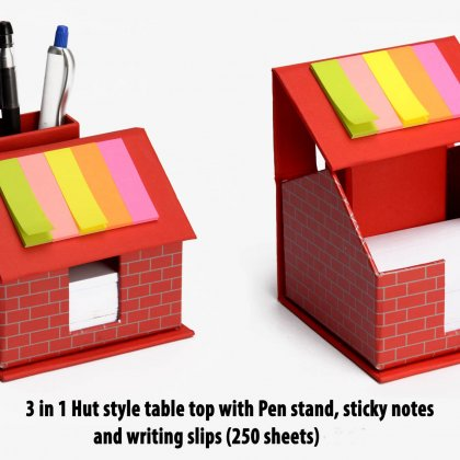 Personalized 3 In 1 Hut Style Table Top With Pen Stand, Sticky Notes And Writing Slips (250 Sheets)