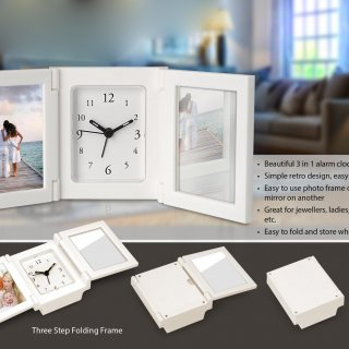 Personalized 3 pc folding alarm clock with photo frame and mirror
