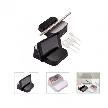 Personalized 3 Ports Usb Hub With Mobile Holder (K N E C T - Mobihub) / Black, White