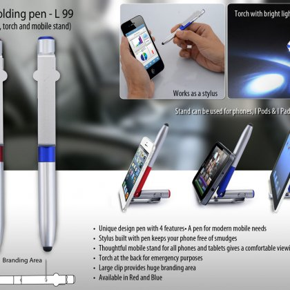 Personalized 4 in 1 folding pen with stylus, torch and mobile stand