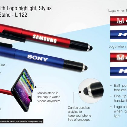 Personalized 4 in 1 pen with logo highlight, stylus and mobile stand