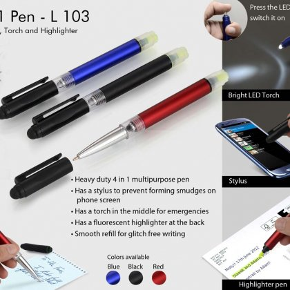 Personalized 4 in 1 pen with stylus, torch and highlighter