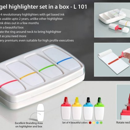 Personalized 4 pc gel highlighter set in a box
