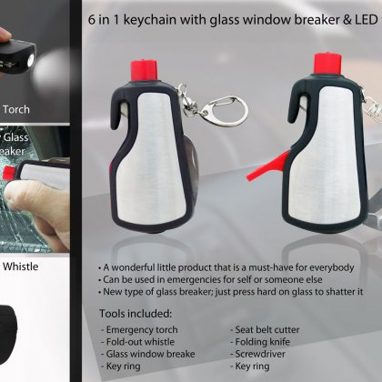 Personalized 6 in 1 keychain with glass window breaker & led torch