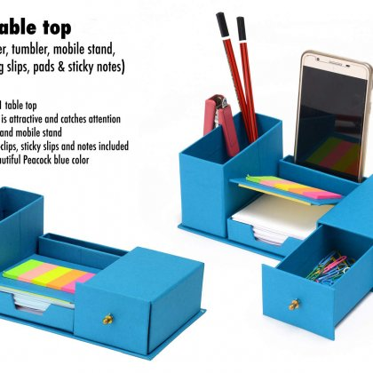 Personalized 7 In 1 Table Top With Drawer, Tumbler, Mobile Stand, U-Clips, Writing Slips, Pads And Sticky Notes