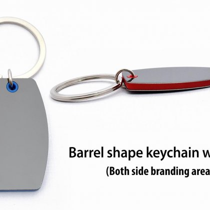 Personalized barrel shape keychain with highlights