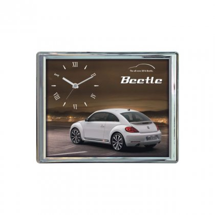 "Personalized Beetle Chrome Plated Wall Clock (8""X10"")"