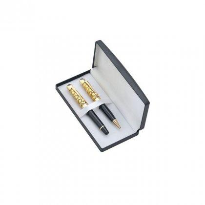 Personalized Bergan Travel Golden-Black Pen Set With Box