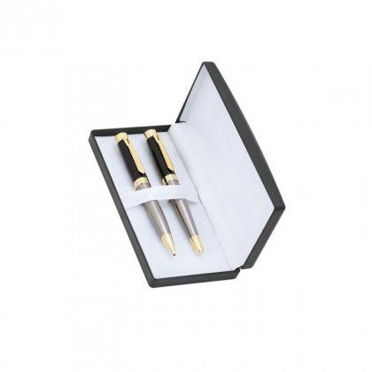 Personalized Biocon Grey/Black Pen Set With Box