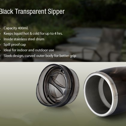 Personalized Black Transparent Steel Mug (400 Ml)