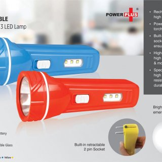 Personalized Blaze Rechargable Led Torch With 3 Led Lamp