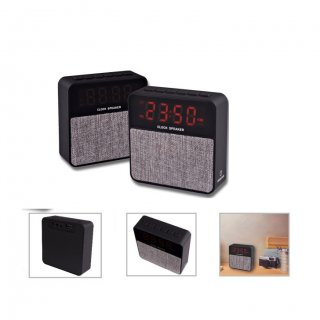 Personalized Bluetooth Speaker + Clock (R H Y T H M - Bing) / Gray