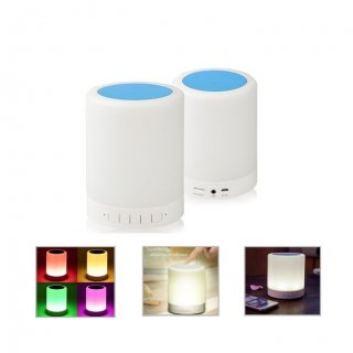 Personalized Bluetooth Speakers With Smart Lamp (R H Y T H M - Globeats) / White