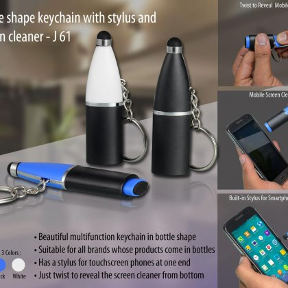 Personalized bottle shape keychain with stylus and screen cleaner