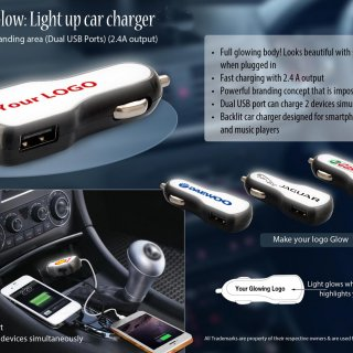Personalized Brandglow: Light Up Car Charger With Full Branding Area (Dual USB Ports) (2.4A Output)