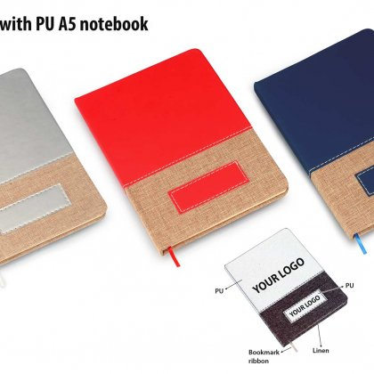 Personalized Brown Linen With Pu A5 Notebook (Boxed Design)