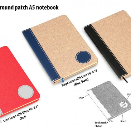 Personalized Brown Linen With Pu Round Patch A5 Notebook (Binary Design)