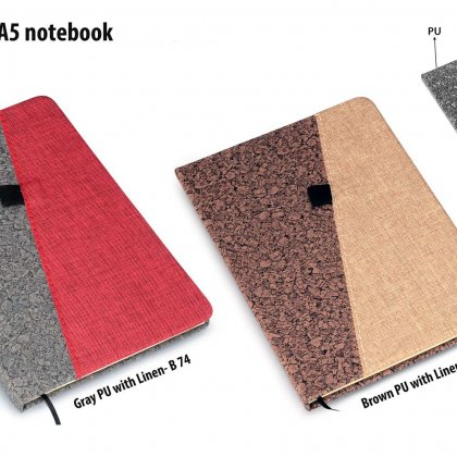 Personalized Brown Pu With Linen A5 Notebook (Slash Design)