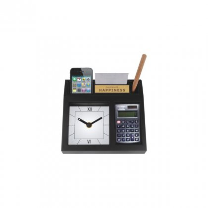 """Personalized Cal. Happiness With Calculater Table Clock (0.5""""X2"""")"""