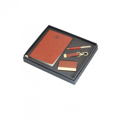 Personalized Calvin Klein (Brown Note Book+Pen+Key-Chain + Visiting Card) Gift Set