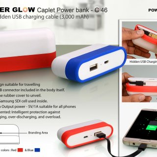 Personalized caplet power bank with hidden wire