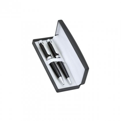 Personalized Chamfort Industrie Black-Silver Pen Set With Box