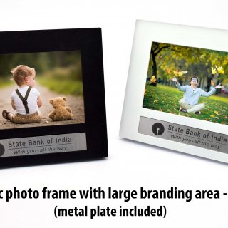 Personalized classic photo frame with large branding area (with metal plate)