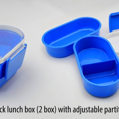 Personalized clip lock lunch box with adjustable partition (2 box)