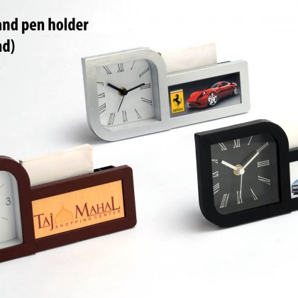 Personalized Clock With Pad And Pen Holder (With Writing Pad) (Branding Included)