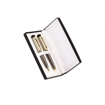 Personalized Club Pager Brown/Golden Pen Set With Box