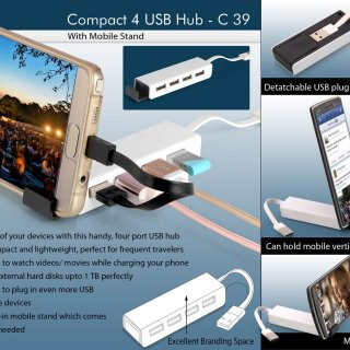 Personalized compact 4 usb hub with mobile stand