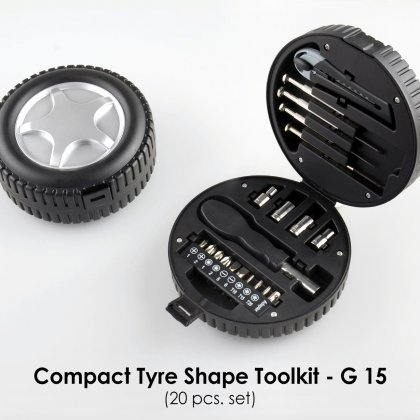 Personalized compact tyre shape tool kit (20pcs. set)