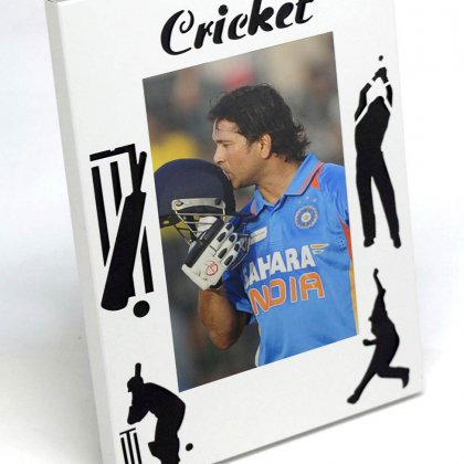 Personalized cricket photo frame (metal)
