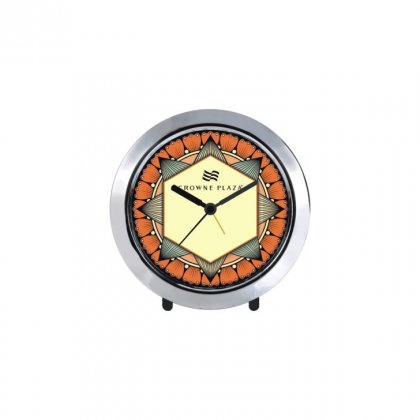"Personalized Crowne Plaza Chrome Plated Table Clock (4"" Dia)"