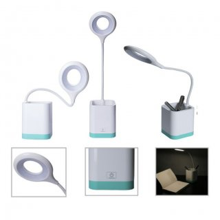 Personalized Desk Lamp With Pen Stand (Lights & Glow - Bryto) / White/ Blue
