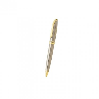 Personalized Dominick'S Grey-Gold Metal Pen With Box