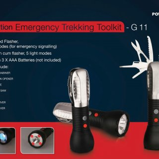 Personalized emergency trekking tool kit (9 function with 5 mode torch & 2 mode flasher)