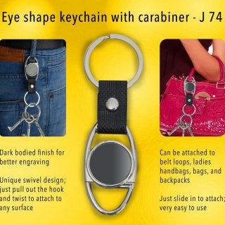 Personalized eye shape keychain with carabiner (gunmetal finish)