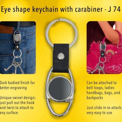Personalized eye shape keychain with carabiner (gunmetal finish)