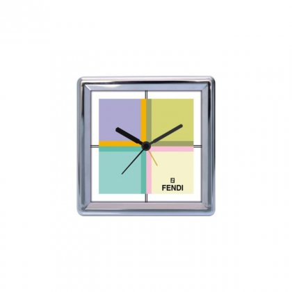 "Personalized Fendi Chrome Plated Table Clock (4""X4"")"