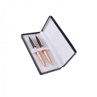 Personalized Fiber Max Copper/Black Pen Set With Box