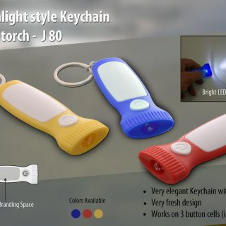 Personalized flashlight style keychain with torch