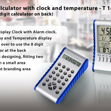 Personalized flip calculator with clock and temperature