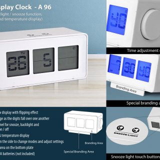Personalized flip display clock with touch light / snooze function